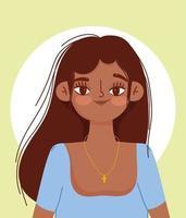 ung spansktalande kvinna karaktär tecknad porträtt vektor