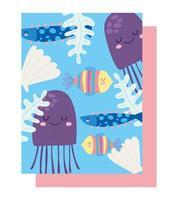 under havet maneter, fiskar, skal, alger mönster vektor