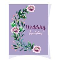 bröllop prydnads blommiga kort vektor