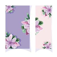 akvarell stil blommiga kort vektor