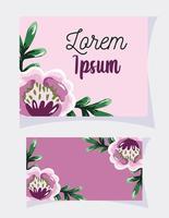 blomma blad akvarell mall kort vektor