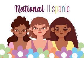 Gruppe von Frauen in Blumen Porträt Cartoon vektor