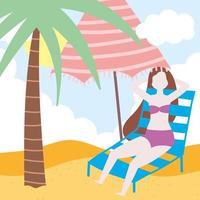 flicka som vilar på solstol med paraply vektor