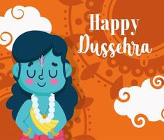 glad dussehra festival i Indien hälsning mall vektor