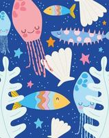 maneter fiskar sjöstjärnor lämnar scen vektor