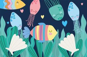 fiskmanet skal och alger marint liv landskap vektor