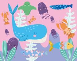 valmaneter fiskar stingray hummer marin livscen vektor