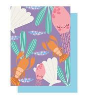 hummermaneter skaldjur alger mönster vektor