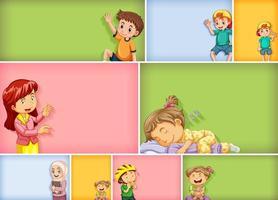 Satz von verschiedenen Kindercharakteren auf farbigem Hintergrund