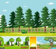 vier verschiedene Szenen in der Natur vektor