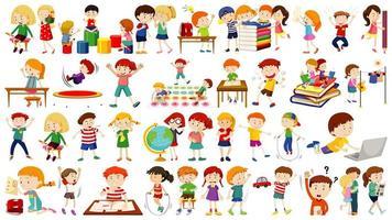 uppsättning söta barn tecknade