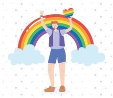 Person, die ein Regenbogenherz für lgbtq Feier hält