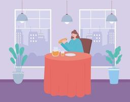 Frau, die allein drinnen isst vektor
