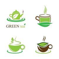 grüner Tee Logo Symbol Bildsatz vektor