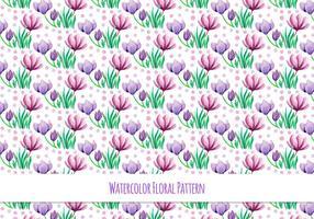 Gratis Vector akvarell mönster med vackra blommor