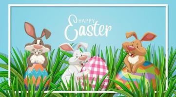 affischdesign för påsk med tre kaniner