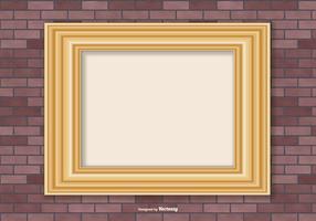 Guld ram på Brick Wall Bakgrund