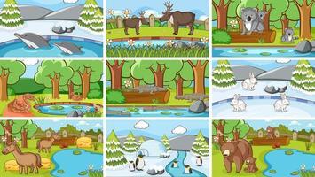 scener av djur i naturen vektor