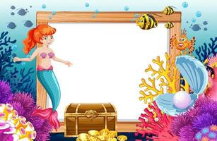 Meerjungfrau und Meerestiere mit leerem Banner vektor