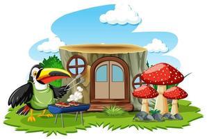 Stumpfhaus mit niedlichem Vogelkarikaturstil