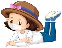flicka karaktär bär mask