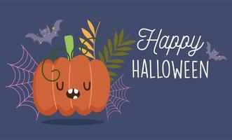 lycklig halloween design med pumpa och fladdermus