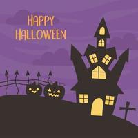 lycklig halloween hälsning med hemsökt hus