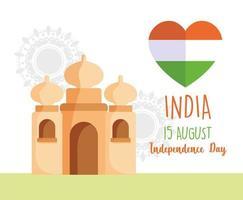 glad india självständighetsdagen affisch design vektor