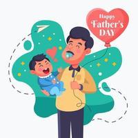Vatertag mit einem Vater, der einen Schnuller benutzt vektor