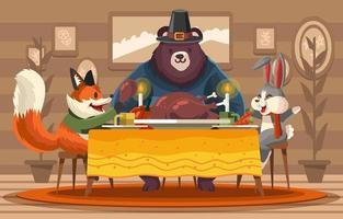 Happy Dinner mit Freunden am Erntedankfest vektor