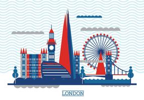 Vector Illustration Der Shard und die Londoner Skyline