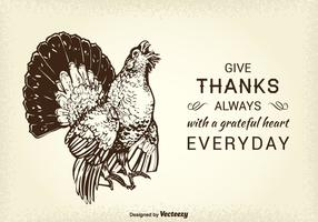 Fri tacksägelse Wild Turkey vektor Card