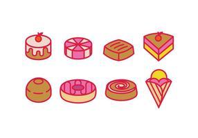Konditorivaror, karamell, efterrätter och kakor vektor