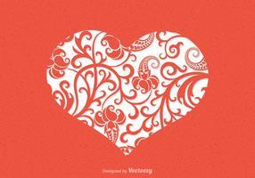 Blommig hjärta vektor kort