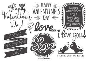 Gullig Sketchy handdragen Alla hjärtans dag etiketter vektor