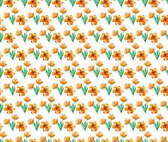 Gratis vektor vattenfärg mönster med söta gula blommor