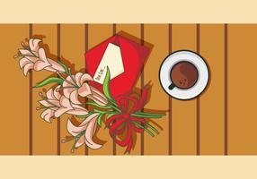 Illustration von Osterlilie auf dem Tisch vektor