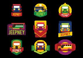 Jeepney Etiketter Vector