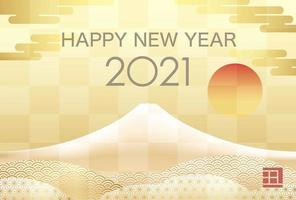 2021 Neujahrsgrußkartenvorlage mit Fuji vektor