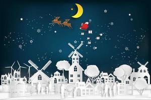 Papierschnitt Santa und Schlitten fliegen über Stadtszene