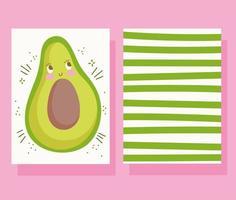 niedliche Avocado-Charakterkartenschablone vektor