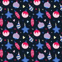 nahtloses Muster mit rosa und blauen Weihnachtskugeln vektor