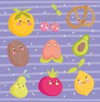 niedliche Cartoon Food Charaktere Wallpaper Design