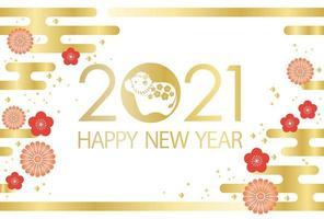 2021 år för oxens gratulationskortmall vektor