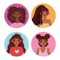 Satz von Afroamerikanerfrauenprofilporträt vektor