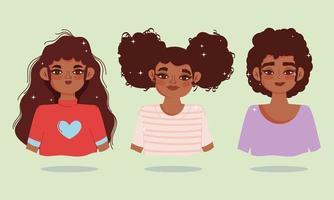 Satz von jungen Afroamerikanerfrauen vektor