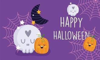 glad halloween, skalle, pumpor, måne och spindelnät