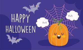 Happy Halloween, Kürbis, Wolken, Spinnennetz und Fledermäuse vektor