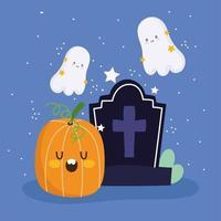 glad halloween, pumpa, gravsten, spöken och stjärnor vektor