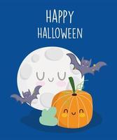Happy Halloween, fliegende Fledermäuse, Mond und Kürbis vektor